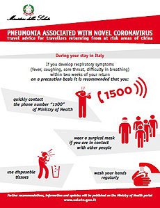 PNEUMONIA ASSOCIATED WITH NOVEL CORONAVIRUS - Travel advice for travellers returning from at risk areas of China